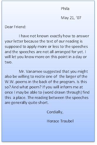 handwritten letter from horace traubel