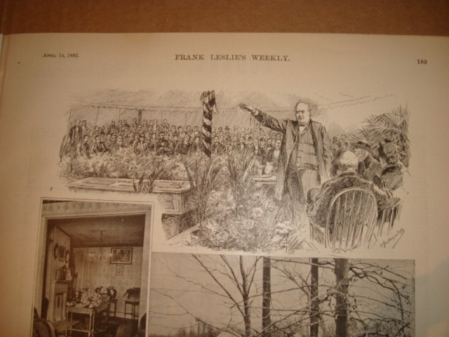 Robert Ingersoll delivering Whitman's eulogy. Frank Leslie's Illustrated Weekly, April, 14, 1892