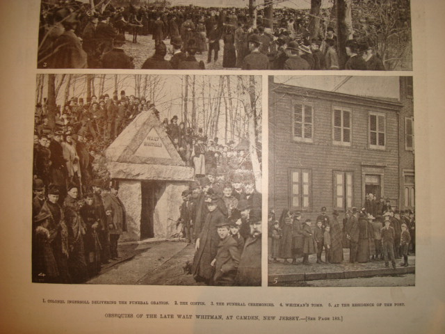 Gathering at the tomb and outside Whitman's home. Frank Leslie's Illustrated Weekly, April, 14, 1892