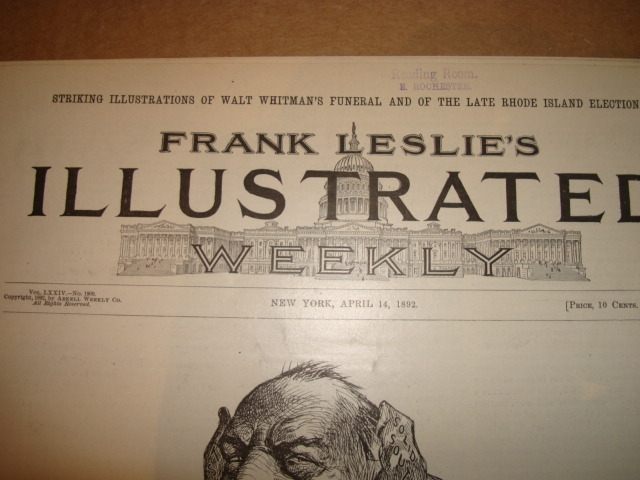 Whitman on the paper headline. Frank Leslie's Illustrated Weekly, April, 14, 1892