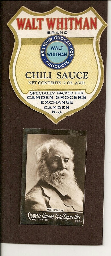 Top: Walt Whitman Brand Chili Sauce. Camden, NJ. Bottom: British cigarette trading card featuring Whitman image. Circa 1910.